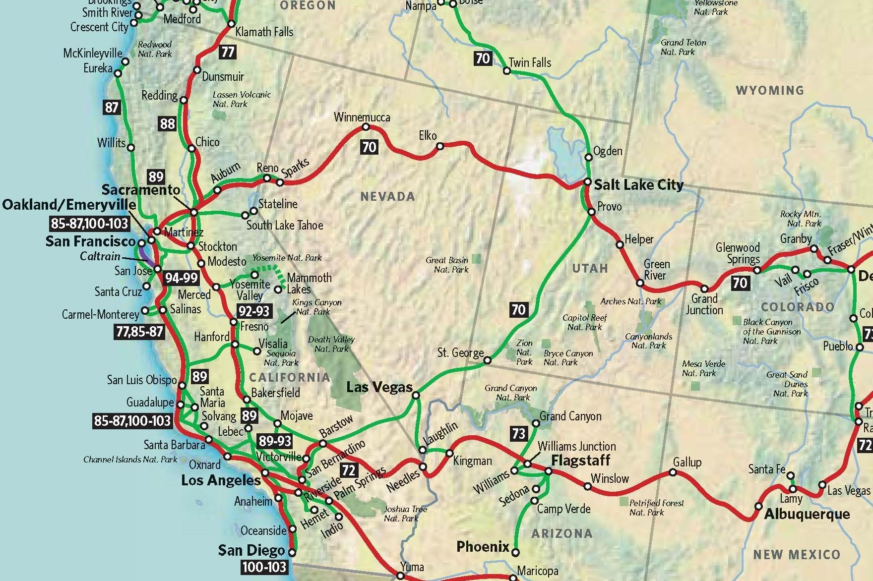 Map Usa Western States Maps Of USA United States Digital Map - Amtrak map usa
