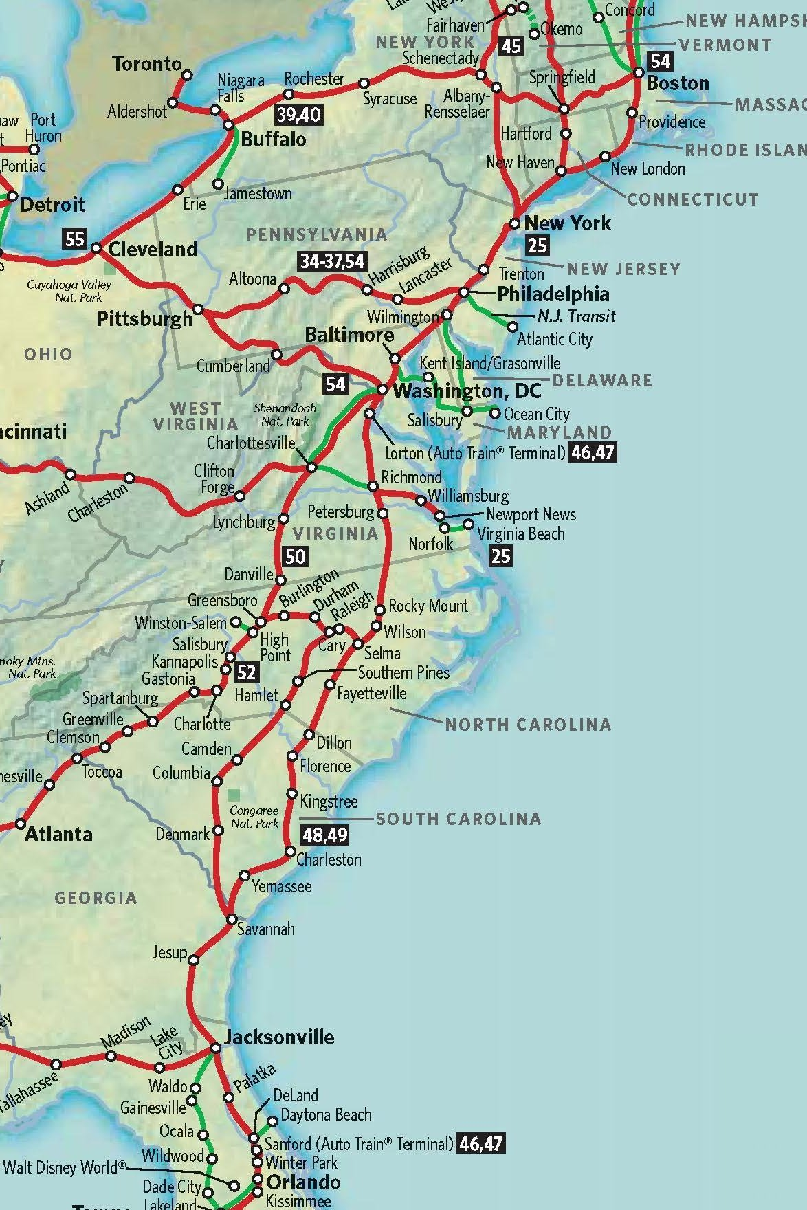 Amtrak Station Map Eastern Us - East coast map us